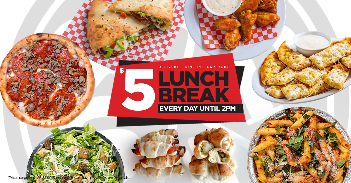 Scratch Pizza $5 Lunch Break Menu Items