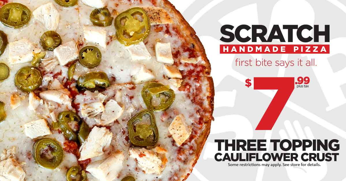 Scratch Pizza - 3-Topping Cauliflower Crust for Only $7.99