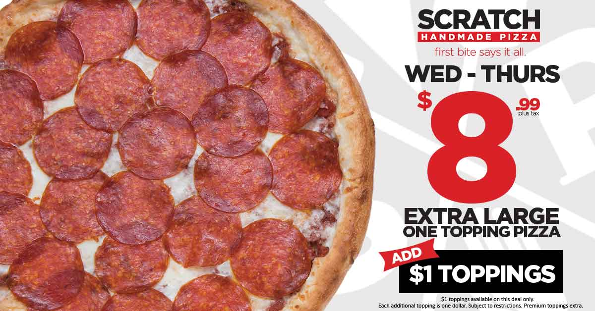 Wednesday - Thursday Deal - $8.99 XL One Topping